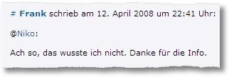 Wordpress Comment Ninja: Antwortkommentar
