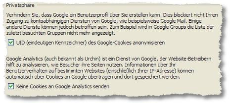 CustomizeGoogle: Privatsphäre-Optionen