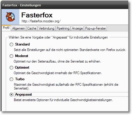 Fasterfox - Einstellungen