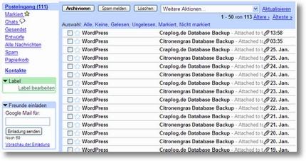 Datenbank-Backups im Posteingang