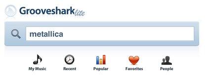 Grooveshark Screenshot Suchmaske