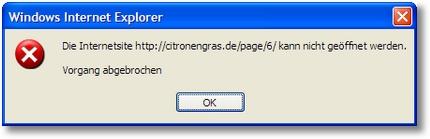 Die Internetsite kann nicht geöffnet werden.