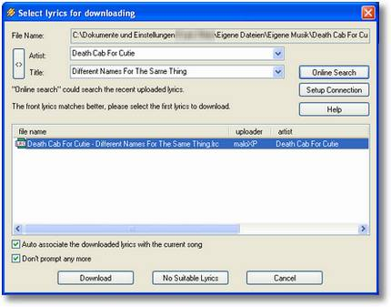 minilyrics download window screenshot