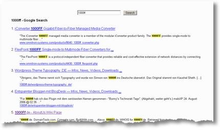 Scroogle Suchergebnisse