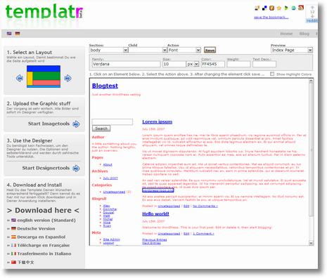 Screenshot: templatr