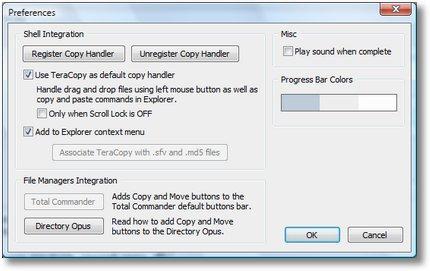 Screenshot: Optionen von TeraCopy