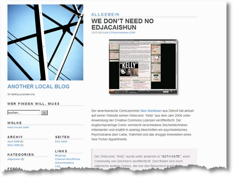 Screenshot: WordPress-Theme Upstart Blogger Minim_DE