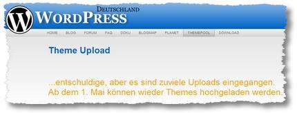 WordPress Deutschland: Kein Upload neuer Themes möglich