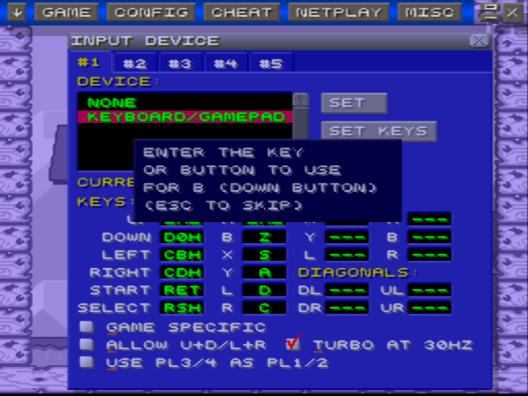 Tasten konfigurieren mit ZSNES-Emulator
