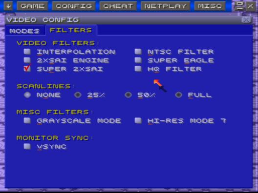 Grafik einstellen mit ZSNES-Emulator